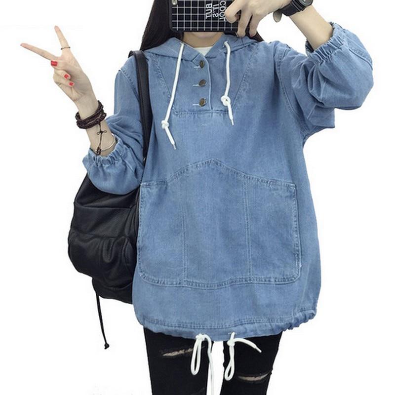 EXOTAO Women Jeans Hoodies Spring Autumn Harajuku Denim Sweatshirt Hot Sale Feminino Tops Loose Hooded Pullover Mujer Pocket
