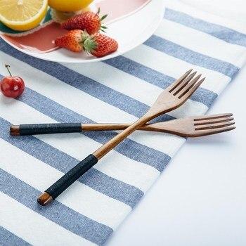 Set of 2pcs Wooden Forks 22 5cm Long Handled Salad Fork Cutlery Set Natural Wood Kitchen