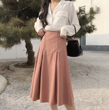 2018 Spring Solid A-line Mid-Calf Empire Woman Skirt Fashion Slim Elastic Waist Lace-Up Denim Female Skirt Korean Style B83310C