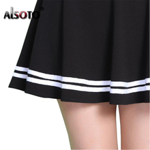ALSOTO Fashion Summer Style Women Skirt Solid Color Sexy High Waist Pleated Skirt black Korean Version Mini A-line Saia