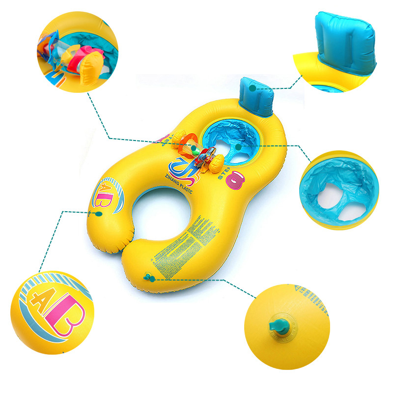 Thickened Inflatable Parent-child Double Interactive Swimming Circle Ring Infant Baby Swim Lifebuoy Float Swim Beach Accessories