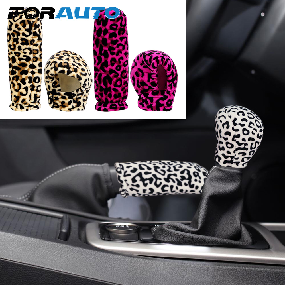 FORAUTO 2 Piece/set Car Gear Shift Collars Car-styling Anti-Slip Leopard Plush Handbrake Grips Universal Interior Accessories