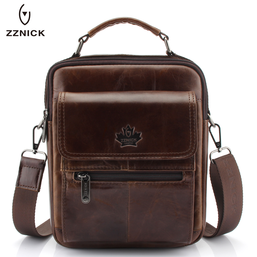 New Fashion Men Genuine Leather Messenger Bag Male Oil Wax Leather Cross body Shoulder Bag First Layer Cowhide Men Bag Briefcase
