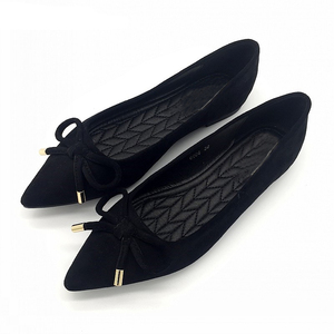 Image 4 - BEYARNEElegant Spring PlusSize Flats Flock Bowtie Womens Flats Pointed Toe Comfortable Lady Woman Flat Shoes Ladies SingleShoes