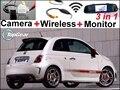 Câmera Do Carro especial + 3in1 Sinal + Monitor Espelho Sem Fio Fácil DIY Sistema De Estacionamento Para O Novo Fiat 500 Abarth 500C 500 S 2007 ~ 2015