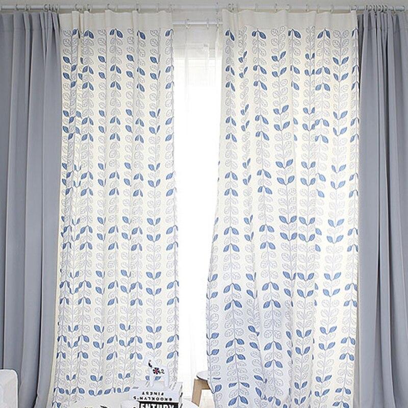 Zakázková kvalita Patchwork Záclony Záclona Obývací pokoj Okno Oblékání Háček Grommet Záclony Listy Bílá Šedá