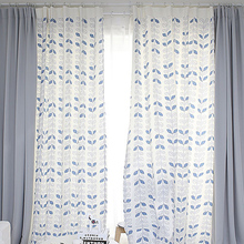 Custom Made Quality Patchwork Drapery Curtain Living Room Window Dressing Hook Grommet Curtain Leaves White Gray