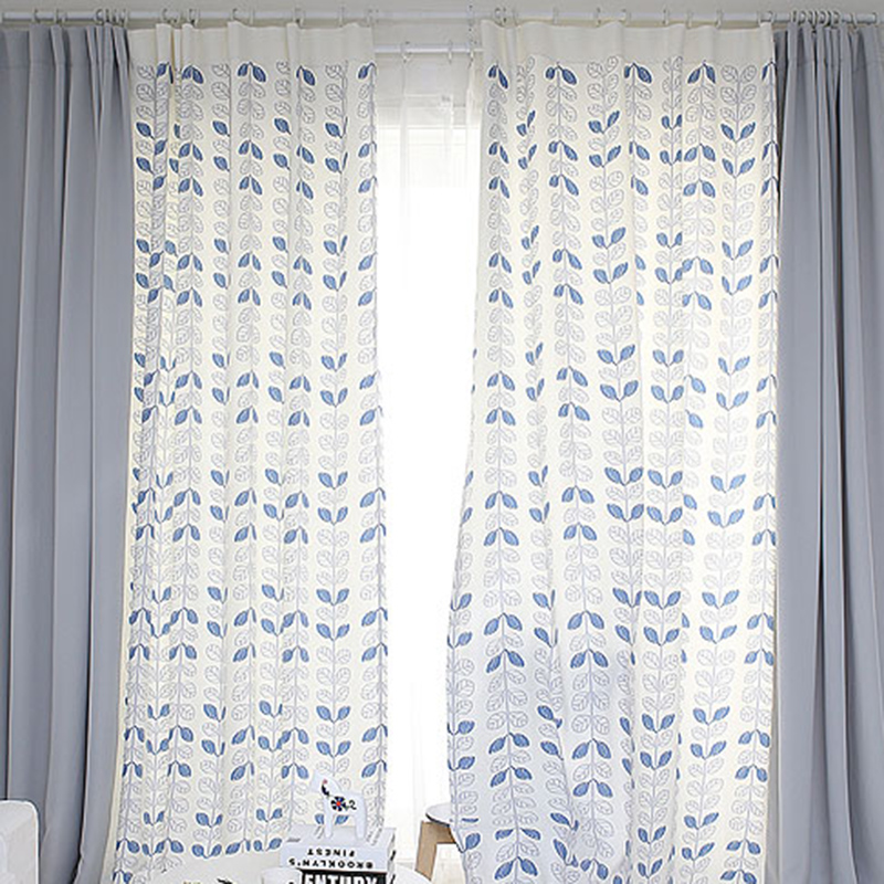 Quality Patchwork Drapery Panel Living Room Window Dressing Drape Draw Wave Grommet Curtain Custom Made Leaves
