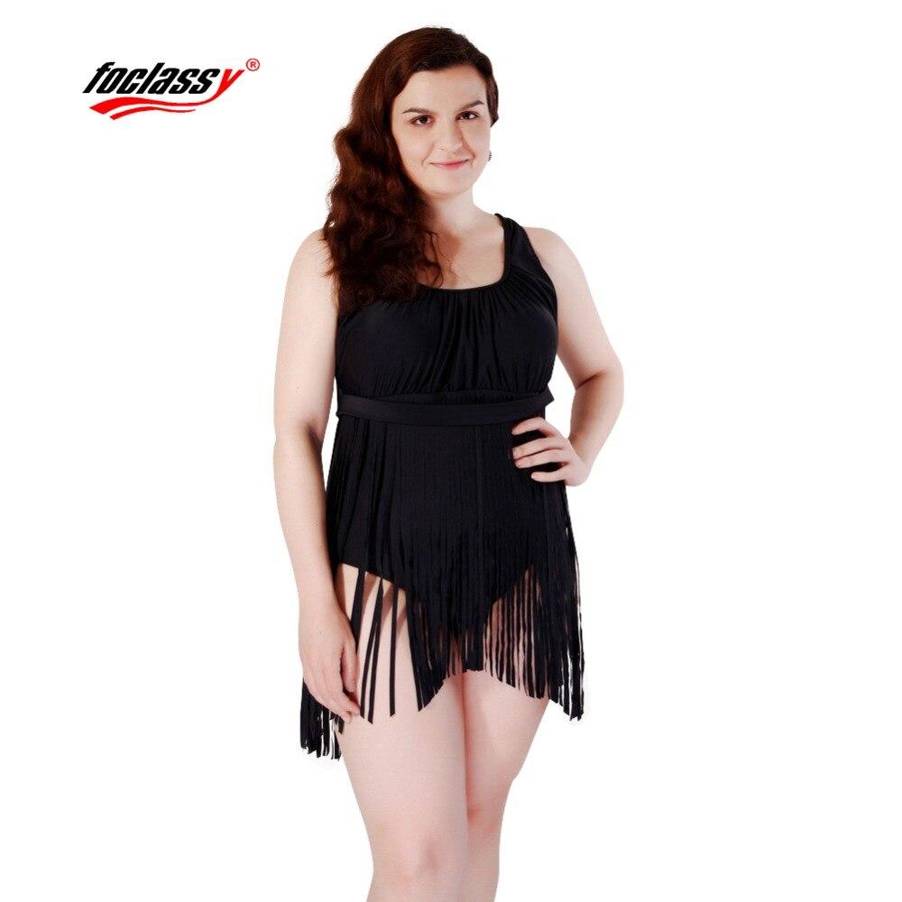 Foclassy Swimsuit Black Tassels Bikini 2017 Plus Size Swimwear Womens swimming suit Bandeau Bather Bathingsuit Beach Wear