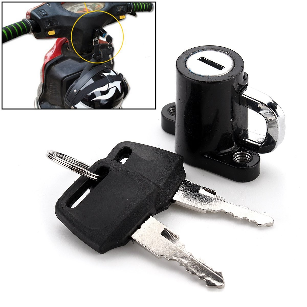 Universal Motorcycle Motorbike Bike Helmet Lock Hanger Hook With 2 Keys Black 46 X 21.3 X 33.4mm