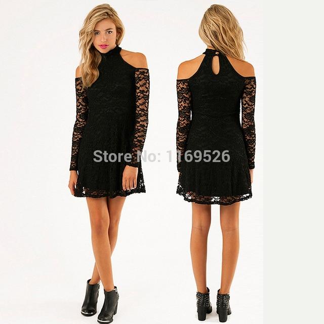 9bba03421838 Wholesale Elegant Lace Mini Dress Strap Off Shoulder Halter Neck Long  Sleeves Short Black Lace Dress