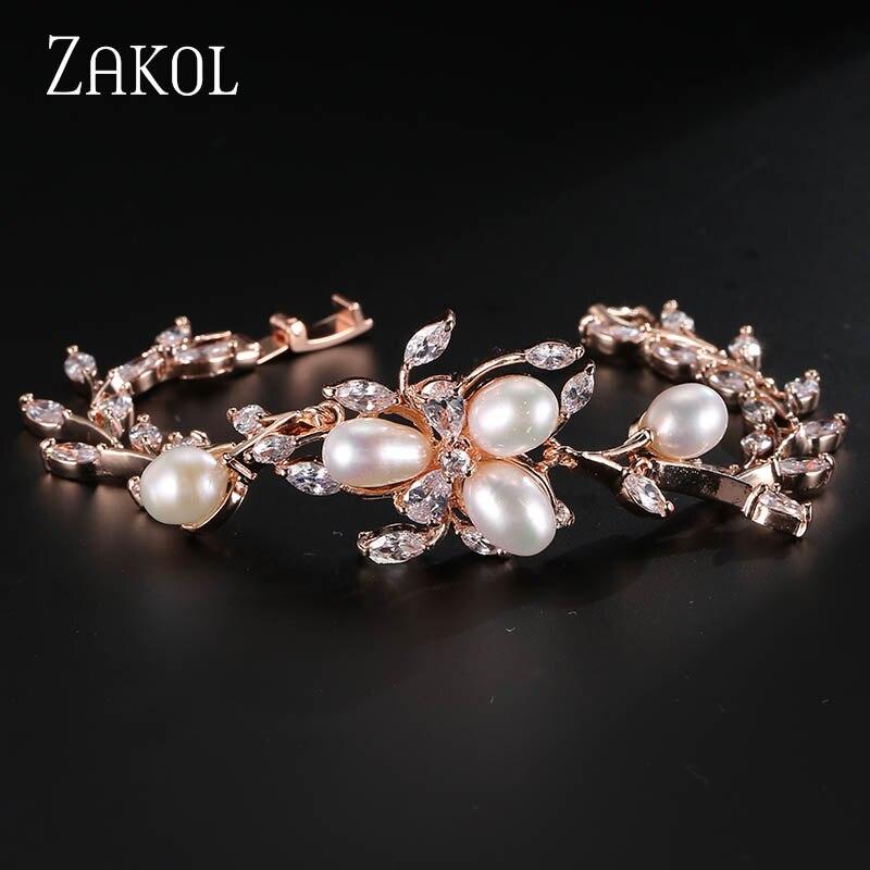 ZAKOL Fashion Rose Gold Color Imitation Pearl Leaf Chain Bracelets For Women Marquise CZ Zirconia Bridal Wedding Jewelry FSBP020