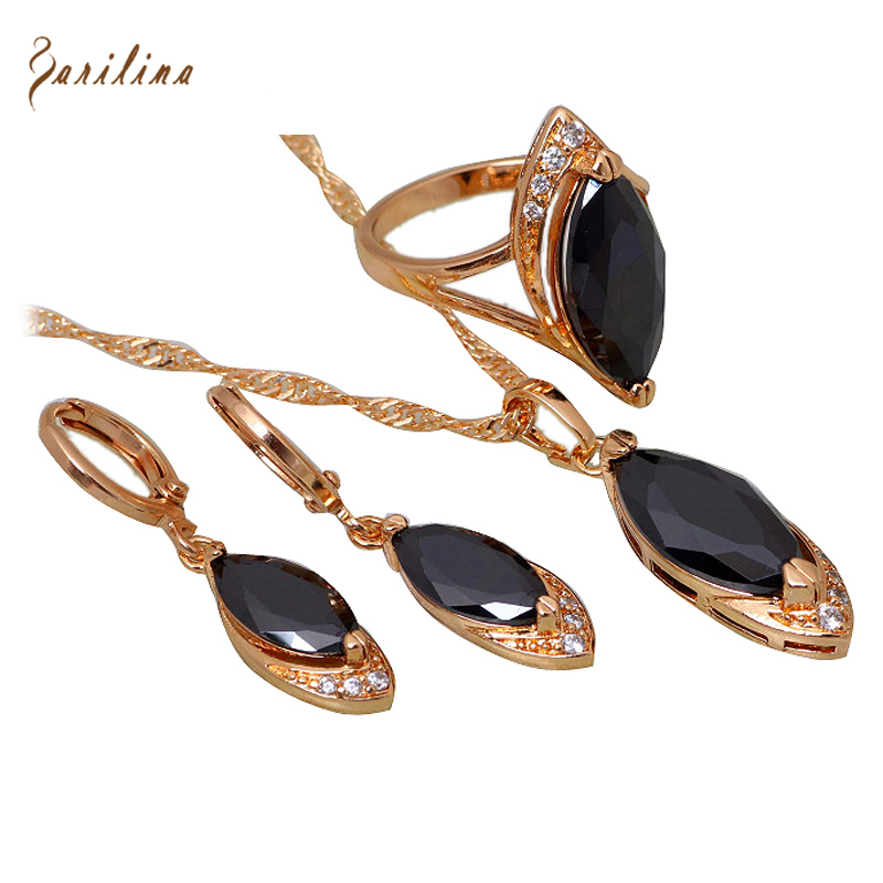 New <font><b>2019</b></font> Promotion black Cubic Zirconia <font><b>jewelry</b></font> <font><b>Sets</b></font> Pendants/Earring/ring Yellow Gold size 6 7 8 9 10 S122 image