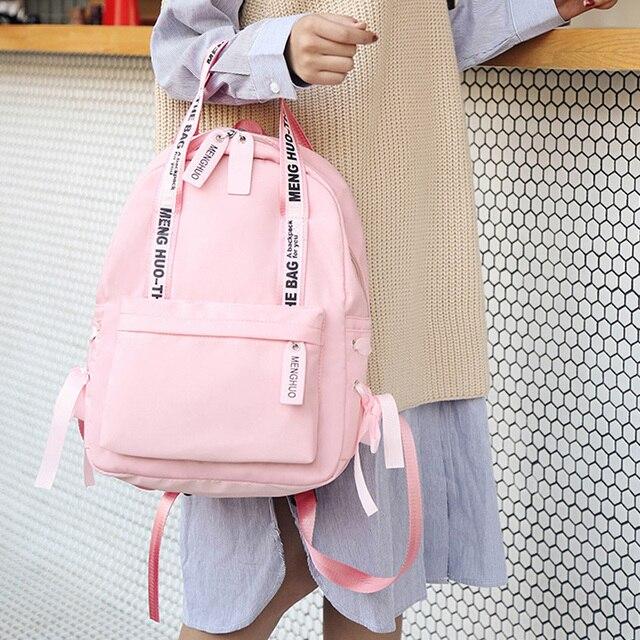 Menghuo Large Capacity Backpack Women Preppy School Bags For Teenagers Female Nylon Travel Bags Girls Bowknot Backpack Mochilas 3