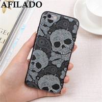 Fashion Balck Skull Head Soft Slim Matte Coque Cases for Apple iPhone 8 Phone Case Silicone Capa Back Cover for IPhone 8 plus