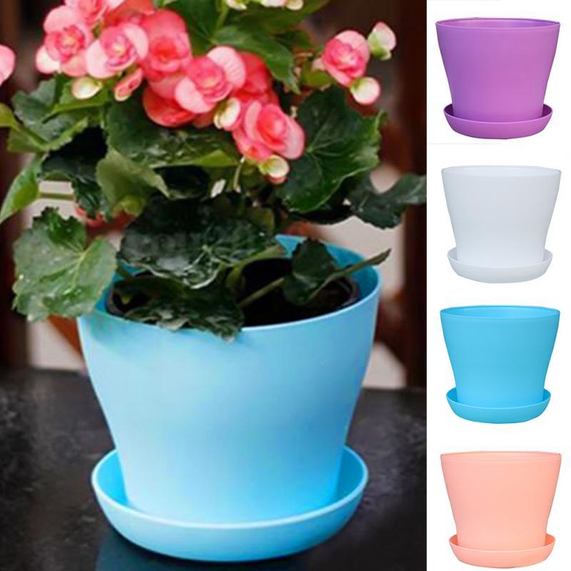 4size PP Resin Indoor Outdoor Garden Plant Flower Pot Balcony Plastic  Planter Patio Home Decor(