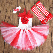2016 Newest Red Girls Christmas Tutu Dress Kids Party Performance Cosplay Christmas Costume Dresses With Headband and Socks 1-8Y