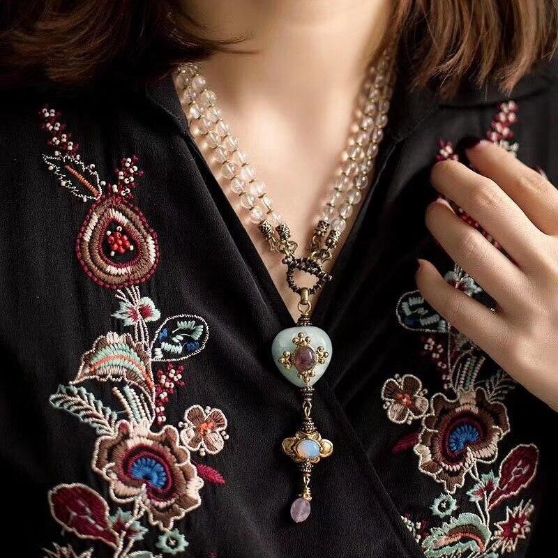 Amorita boutique vintage glass beads pendant necklace