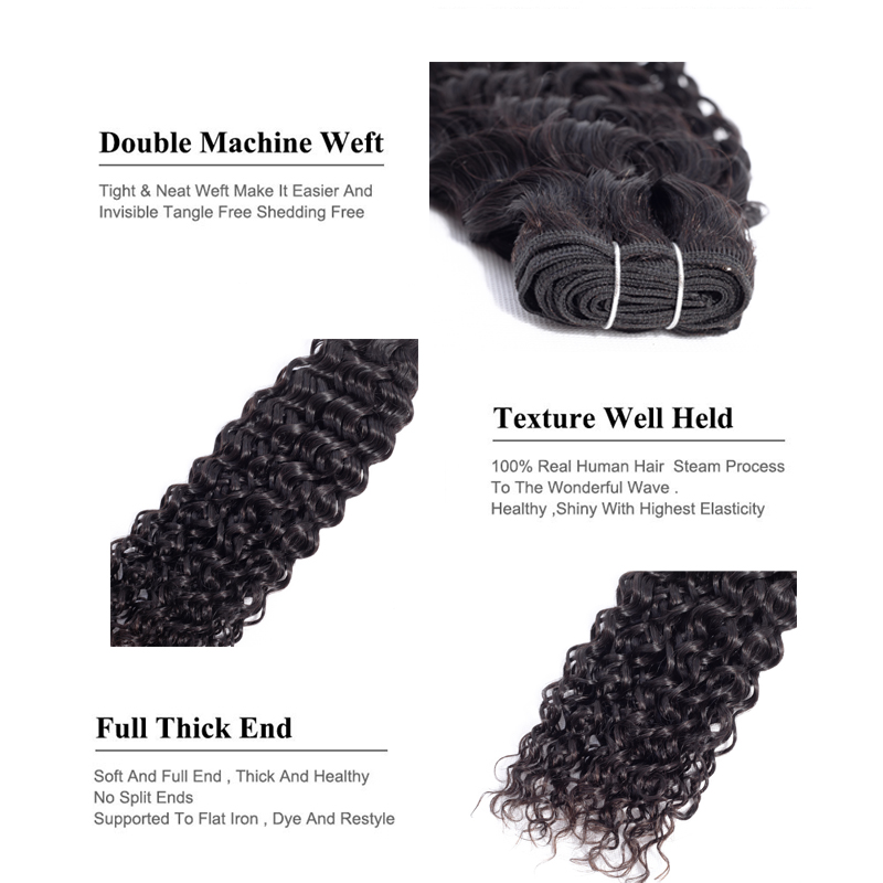 "Image 5 - Sweetie Water Wave Bundles Indian Hair Extensions 8"" 28"" Natural Black Human Hair Weave Bundles 1/3/4 Pieces Non Remy Hair-in Hair Weaves from Hair Extensions & Wigs"