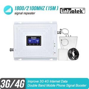 Image 1 - を Lintratek 3 グラム 4 グラム 1800 2100 携帯電話の信号ブースター DCS バンド 3 1800 WCDMA バンド 1 2100 ダブルバンドリピータ LTE アンプ 45