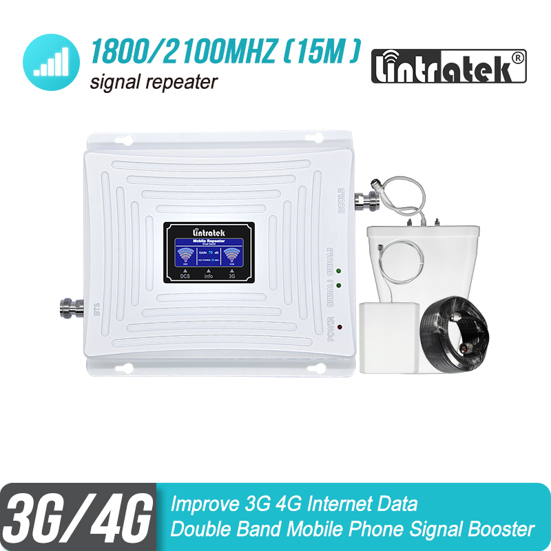 Lintratek 3G 4G 1800 2100 MHz Cell Phone Signal Booster DCS Band 3 1800 WCDMA Band 1 2100 Double Band Repeater LTE Amplifier 45