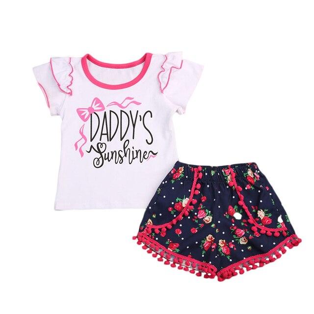New Kids Toddler Girl Clothing Set Fly Short Sleeve T Shirt Tops