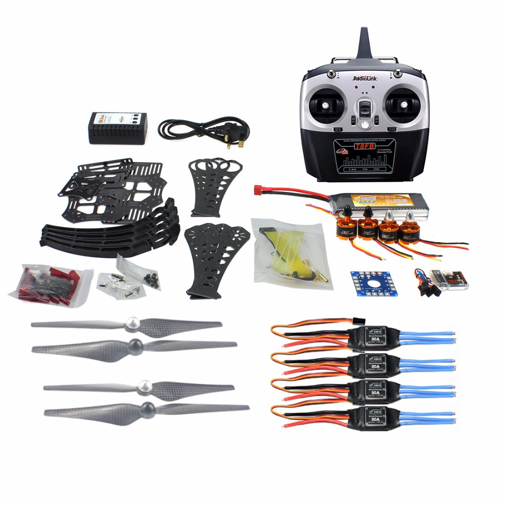 DIY RC Drone Quadrocopter ARF X4M360L Frame Kit QQ Super Flight Controller T8FB 8CH TX RX F14892-G f14892 f diy rc drone quadcopter rtf x4m360l frame kit with qq super flight control motor esc flysky fs i6 transmitter battery