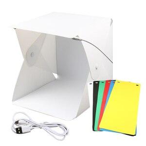 Image 2 - Mini Pieghevole Lightbox Fotografia Photo Studio Softbox 2 Pannello HA CONDOTTO LA Luce Soft Box Photo Sfondo Kit scatola di Luce per DSLR macchina fotografica