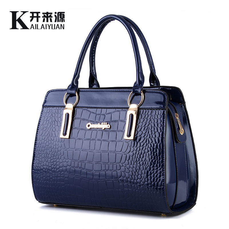 KLY 100% Genuine leather Women handbag 2018 New Bright lacquered stone fashion style European style atmosphere shoulder kly 100