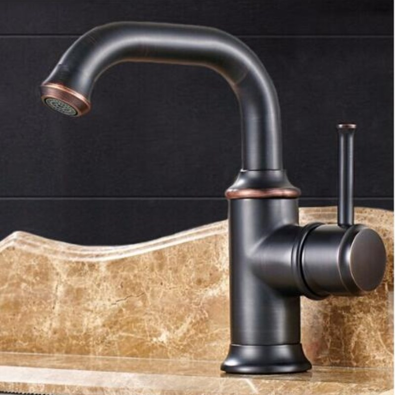 Solid Brass Bathroom Sink Basin Faucet Antique Brass/ Black  Ceramics Handle Retro Style Mixer Tap Deck Mounted Water Tap modern style golden color bathroom sink faucet single handle mixer tap solid brass deck mounted