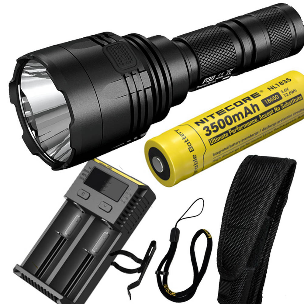 NITECORE P30 1000Lumen Long-range Tactical Flashlight Outdoor Hunting Waterproof Portable Torch +NL1835 battery and I2 charger powerful handlight outdoor tactical flashlight 1300lm tactical led flashlight torch outdoor waterproof aluminum alloy