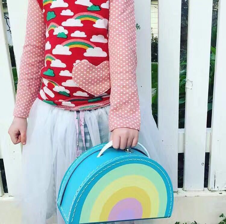 INS Cute Child Rainbow Watermelon Lemon Small Suitcase Luggage Decorative Toys Canvas Storage Bags Barrel Baby Stuff