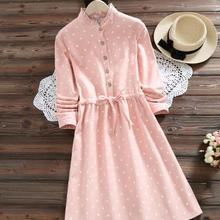 c9fa898597f8 Autumn and Winter Frocking Dress Women Pink Polka Dot Lace-Up Slim Waist  Cotton Dresses