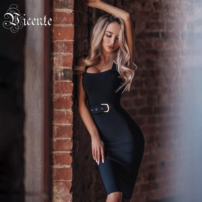Vicente 2019 Hot Trendy Sexy Spagehtti Strap Sashes Design Knee Length Celebrity Party Bandage Dress
