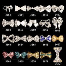 10Pcs/Lot Pearl Nail Art AB Rhinestones Crystal Bow Tie Alloy Bow Knot for Nails Dekor Decorations Accessories