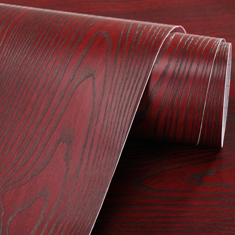 Carta adesiva per mobili in legno di sandalo rosso 3d carta da parati di legno cassettiera carta - Carta adesiva colorata per mobili ...