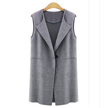 2018 Spring Autumn Womens Sleeveless Vest Jacket Long Coat Cardigan Gilets Vest Outwear Coat Cardigan Veste(China)
