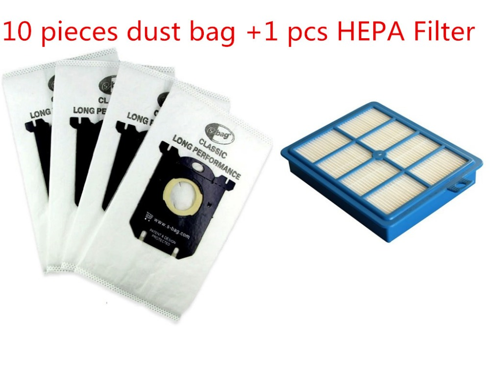 1pcs Replacement H12 HEPA Filter & 10pcs Dust Bag for Electrolux EFH12W AEF12W FC8031 EL012W Vacuum Cleaner S-BAG 1 piece vacuum cleaner h12 hepa filter replacement for philips electrolux efh12w aef12w fc8031 el012w h12 filters