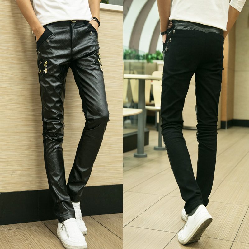 Straight Jogger Pants Real Slim Mens Leather Pants Faux For Men 2017 Splicing Tight Low-waist Trousers Casual Leather Pants