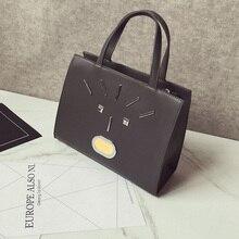 New 2016 PU Leather Cartoon Rivet Tide Leisure Brand Monster Designer Quality Female Luxury Star Style Custom Bag Black Red Toes