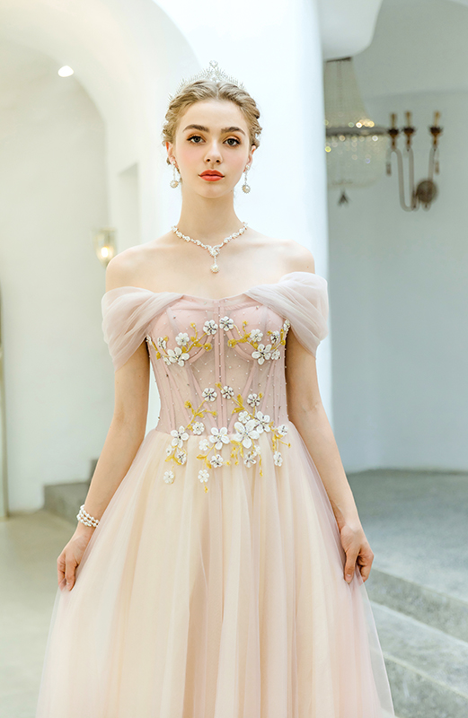Pink Prom Dress Off Shoulder Bridesmaids Lace Appliques Dress Beaded Long Floor Length Evening Gown