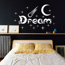 New Design Bedroom Wall Stickers Moon And Stars Home Decor Vinyl Removable White Dream Wall Decal(China)