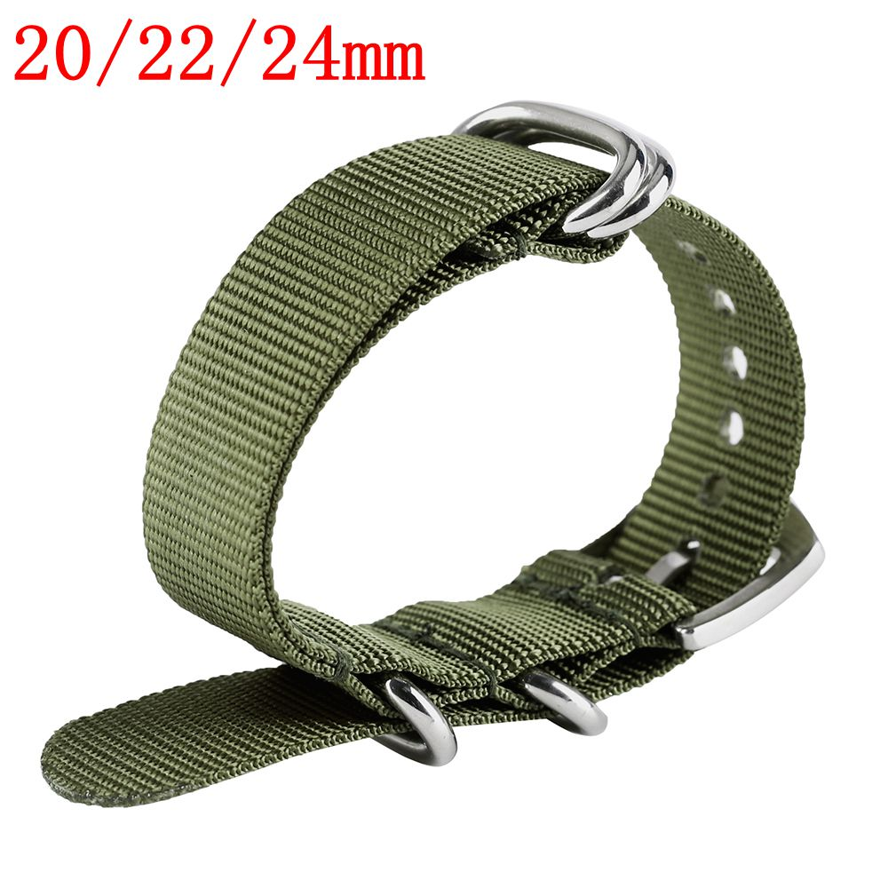 Watchband Nylon Unisex Soft Black Army Green Wrist Watch Straps 20mm 22mm 24mm Replacement Silver Steel Pin Buckle Bracelet survival nylon bracelet with stainless steel buckles green