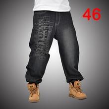 Baggy Jeans Denim Pants Loose Streetwear Jeans Hip Hop monopatín pantalones  para los hombres más los pantalones del tamaño negro. 230f3539c13