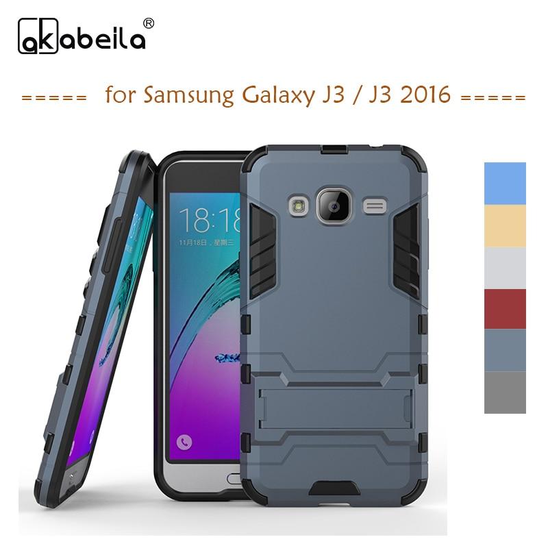 Galleria fotografica AKABEILA Phone Cover Case For Samsung Galaxy J3 2016 J300 J310 Case Cover PC PU Hybrid Rubber J310F J310H J310M