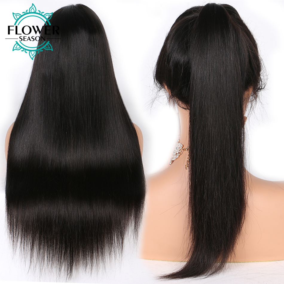 Image 4 - Pre plucked 13x6 Silky Straight Lace Front Human Hair Wigs With Baby Hair Bleached Knots Peruvian Remy Hair FlowerSeasonwig with baby hairwig withewig wig -