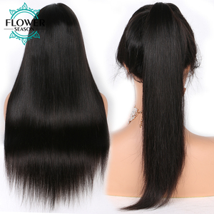 Image 5 - Preplucked 13x4 Silky Straight Lace Front Human Hair Wigs With Baby Hair Remy Peruvian Human Hair wig for women 130 FlowerSeason