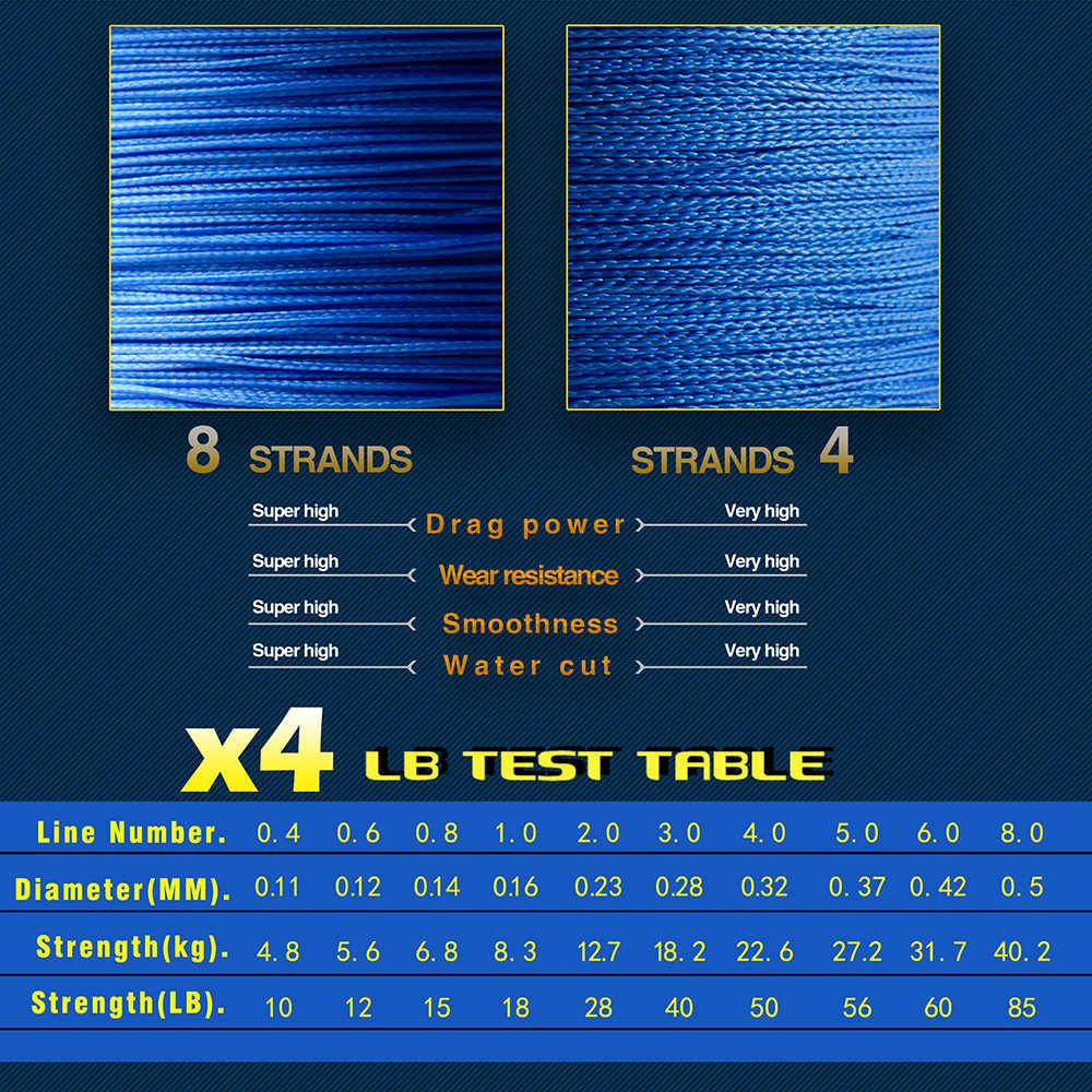 Hilo multifilamento JOSBY hilo de pescar de PE trenzado 1000m 4 hebras 100lb Lake 4 hebras hilo tejido para carpa Fishing10lb-85lb blanco