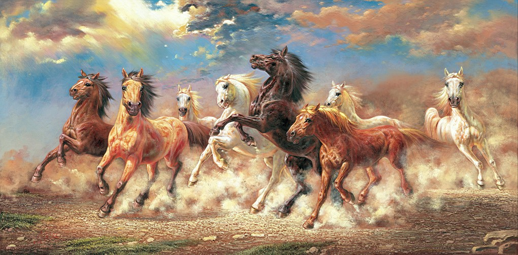 Free Shipping Modern Printed Oil Painting 8 Running Horse