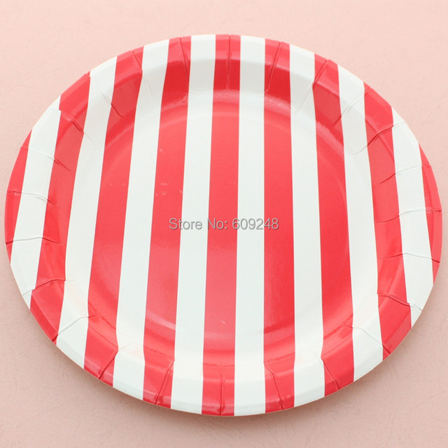 24pcs 9\  Designer Birthday Christmas Red Striped Paper Plates Round Disposable Party Dessert Paper Dishes & 24pcs 9\